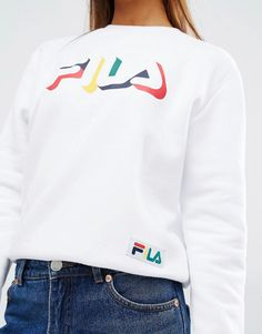 Image 3 ofFila Sweatshirt With Multicoloured Logo Print And Tape Detail