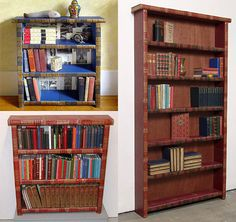 book shelf made out of old encyclopedias
