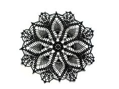 """Black lace doily, crochet centerpiece, lace table topper, Gothic table decor, Halloween party decor. Available in 10"""" or 12 inches diameter by EstersDoilies on Etsy https://www.etsy.com/au/listing/191540998/black-lace-doily-crochet-centerpiece"""