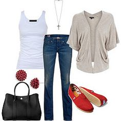 Toms Shoes OFF!>> red toms jeans and sweater Red Toms Outfit, Toms Outfits, Casual Outfits, Cute Outfits, Fashion Outfits, Womens Fashion, Fashion Trends, Fashion Guide, Casual Clothes