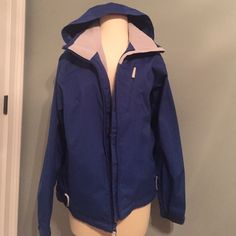 Cabelas Insulated Rain Jacket Worn once. Perfect for a cold rainy day. Well insulated inside with lots of pockets and a hood. Adjustable bottom. Dark blue. Cabela's Jackets & Coats