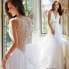 016 Hot Selling Luxury A-line Deep V-neck Beaded White Chiffon Bridal Gown Court Train Beach Wedding Dress Free Custom