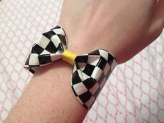 Duct Tape Bow Bracelet -  Checkered & Yellow. $4.00, via Etsy.
