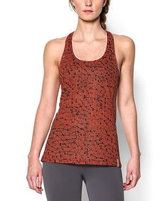89d701311d228 Dark Orange Mesh-Print Fly-By Tank Under Armour