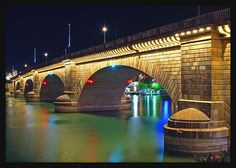 The London Bridge at Havasu City.  It was transported brick-by-brick and reconstructed exactly