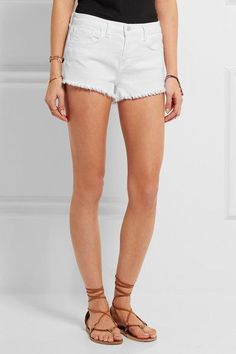 L'Agence - Zoe Frayed Stretch-denim Shorts - White - 30