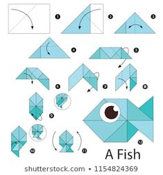 Immagine vettoriale stock 1154824369 a tema Step By Step Instructions How Make (royalty free) - Origami Diy Origami, Origami Design, Origami Ball, Origami Fish, How To Make Origami, Origami Butterfly, Paper Crafts Origami, Useful Origami, Origami Flowers