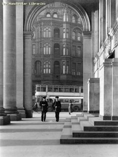 Central Library, The Portico, Manchester Creator Hinks, G R Date Identifier Manchester Library, Manchester Central, Manchester Street, City Library, Central Library, Old Pictures, Old Photos, Bolton England, Midland Hotel