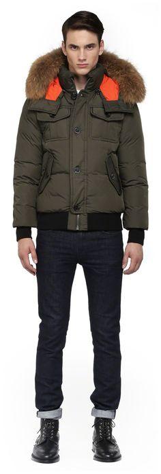 Mackage - QUENTIN-F4 ARMY WINTER DOWN BOMBER JACKET FOR MEN WITH FUR HOOD. www.mackage.com #menswear #fw14 #wintercoat #fur #parka #luxuryouterwear