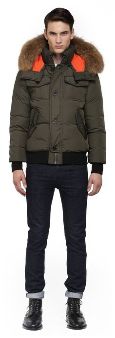 Mackage - GARY-F4 BLACK WINTER DOWN BOMBER JACKET FOR MEN WITH ...