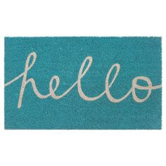 """Welcome guests with style and an easy way to wipe their feet with the Room Essentials """"Hello"""" Cursive Doormat. Fun and functional, this floor mat f..."""