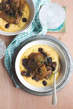 Slow Cooker Hard Cider Braised Pork with Sour Cherries and Cheesy Polenta | hungrygirlporvida.com