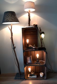Lighting with a touch of nature. Beautiful lights to bring the nature in your home. The wool accent on each lamp gives it also a nice warm look.  Lamps available at WoodWoolDesign (on Etsy and Dawanda)