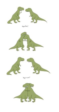 T-Rex can't high five. But that sure is a nice hug. Funny Animal Comics, Animal Memes, Funny Comics, Funny Animals, Cute Animals, Sheldon The Tiny Dinosaur, Animal Drawings, Cute Drawings, Drawing Animals
