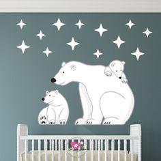 White Bear Polar Print Nursery Wall Art Decor Kids Ilration Room For Cute Pinterest