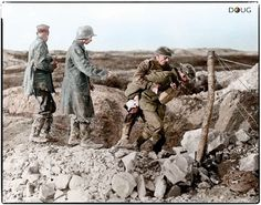 WW1, 15 August 1917. Canadian soldiers and German POWs at Battle of Hill 70 in the Nord Pas de Calais region of France. Colour by Doug. -David Doughty (@DavidWDoughty) | Twitter