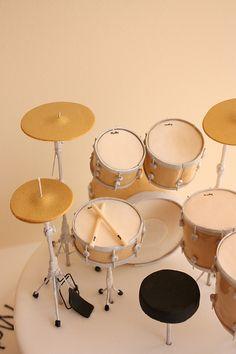 Drum kit birthday cake detail by Janelle Dedini