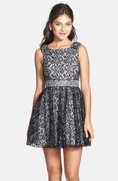 Sequin Hearts Bow Detail Metallic Lace Skater Dress (Juniors) available at #Nordstrom