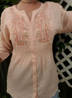 DRESSBARN PASTEL PINK EMBROIDERED BOHO TOP PAISLEY 3/4 SLEEVE FESTIVAL S / M  #dressbarn #ButtonDownShirt #Casual