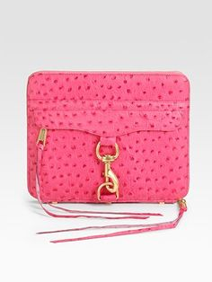 How cute is this rebecca minkoff  Standing Ostrich Stamped Leather iPad case?     EXCLUSIVELY AT SAKS. A versatile design crafted from rich ostrich-stamped leather, zips around your iPad® or functions as a stand.  $195