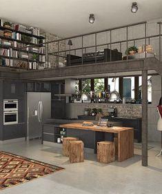 Loft Industrial, Industrial Kitchen Design, Industrial Interiors, Industrial Kitchens, Design Kitchen, Kitchen Ideas, Industrial Apartment, Modern Industrial Decor, Industrial Architecture