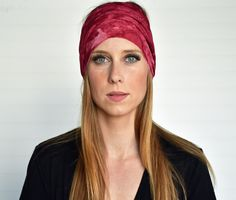Boho headwrap Boho turban Ladies stretch by WildandFreeFashion Gypsy Style, Boho Gypsy, Bohemian Style, Burgundy Tie, Fabric Headbands, Boho Baby, Fashion Wear, Turban, Head Wraps