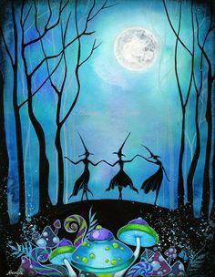 witch Folk Art painting | ... Trio~Contempor ary Modern Fantasy Painting~Mushr oom Forest Folk Art