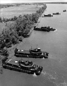 Vietnam War - EAGLE FLOAT OF MOBILE RIVERINE FORCE beaches to search for Viet Cong.