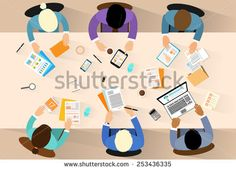 business people workplace top angle above view sitting at office desk work vector illustration flat design awesome office table top view shutterstock id
