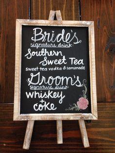 Custom chalkboard bar menu -bar sign- cocktail menu -drink list -bride and groom. - picture for you Wedding Signature Drinks, Signature Cocktail, Drink Signs, Bar Signs, Chalkboard Bar, Sweet Tea Vodka, Southern Sweet Tea, Fast Food, Cocktail Menu