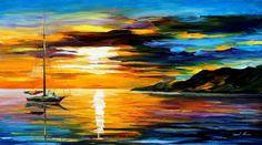 """Arte de pared en barco vela - vela con el sol 2: pintura al óleo espátula sobre lienzo de Leonid Afremov. Tamaño: 36 """"X 20"""" pulgadas (90 cm x 50 cm)"""
