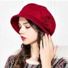 cappello della benna del fiore di modo per le donne di lana casuale feltro  indossare cappelli inverno 08f7b3dbd900