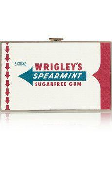 Anya Hindmarch Imperial Wrigleys Spearmint Gum elaphe clutch   NET-A-PORTER