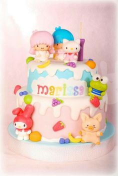 Hello Kitty, My Melody, Little Twin Star, Keroppi, & Purin? #Sanrio #cake from the bunny baker