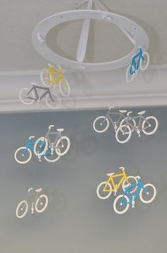 Bicycle Nursery Mobile bikes wooden crib baby Custom Handpainted by FlutterBunnyBoutique