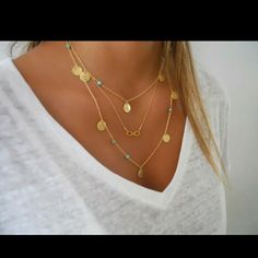 IT'S HERE! MULTI-LAYER GOLD NECKLACE Gold multi-layered necklace with gold charms and blue beads. Material is tin alloy Jewelry Necklaces