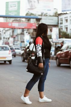 SelestyMe by Chayanika Rabha Indian fashion & Lifestyle blog in collaboration with Stylewe.com Wearing- StyleWe Bomber jacket, DIY raw hem Jeans, Rosegal Top & New look sneakers