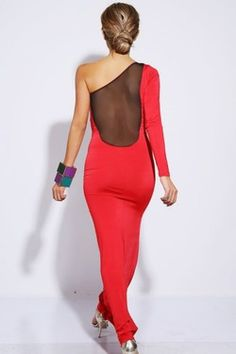 SEXY LIPSTICK RED MESH INSET  ONE SHOULDER FORMAL  EVENING MAXI DRESS - $40.00