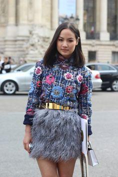 Fashion Photo, Fashion Blogs, Fashion Ideas, Feather Skirt, Chanel Jacket, Street Style Women, Stella Mccartney, My Style, Skirts
