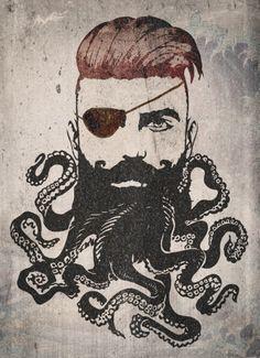 Black Beard Art Print by Vin Zzep Octopus Tattoo Design, Octopus Tattoos, Octopus Art, Pirate Tattoo, Beard Art, Ribbon Art, American Traditional, Tattoos Gallery, Ink Art