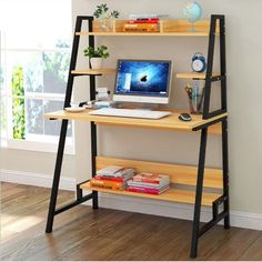 Wood Computer Desk PC Laptop Table Shelf Stand Organizer Workstation Home Office, Nature Computer Desk Organization, Wood Computer Desk, Pc Desk, Gaming Computer, Home Office Furniture, New Furniture, Furniture Design, Pallet Furniture, Small Study Table