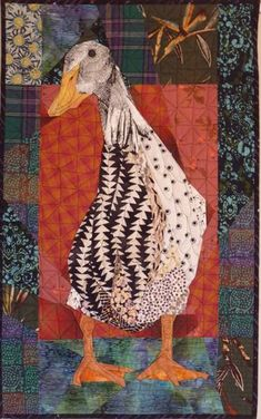 Runner Duck at Rest Ruth B. McDowell - Not the kind of quilt that I usually post, but I just like this duck. Small Quilts, Mini Quilts, Art Tribal, Bird Quilt, Quilt Modernen, Animal Quilts, Art Textile, Landscape Quilts, Applique Quilts