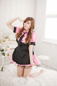 Pink Sweet Turndown Collar Maid Uniform - French Maid Costumes - Costumes French Maid Costume, Maid Uniform, Maid Dress, Costume Dress, Cute Woman, Japanese Girl, Designer Dresses, Ballet Skirt, Cosplay