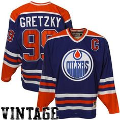 NHL Edmonton Oilers Wayne Gretzky #99 Heroes Of Hockey Jersey, Large , Blue/Orange/White by Reebok. $169.99. Pick up this Edmonton Oilers Wayne Gretzky 1982 CCM® Vintage replica road jersey for the die-hard fan in your life! The mid-weight polyester jersey is adorned with team graphics applied using a combination of embroidery and appliqué twill.