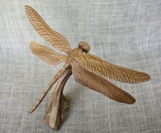 "12"" wing span, 7.5"" x 7.5"". $125. cherry, oak base. Dragonfly Wood Carving Hand Carved By Mike Berlin by BerlinGlass"