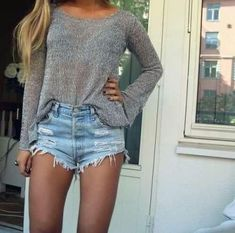 High-waisted shorts + peek-a-boo top