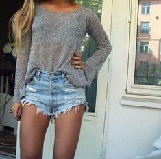 High-waisted shorts + peek-a-boo top