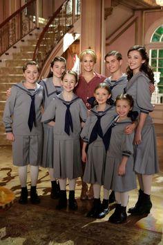 """The Sound of Music Live!"" - Joe West as Kurt, Ella Watts-Gorman as Louisa, Sophia Ann Caruso as Brigitta, Carrie Underwood as Maria, Grace ..."