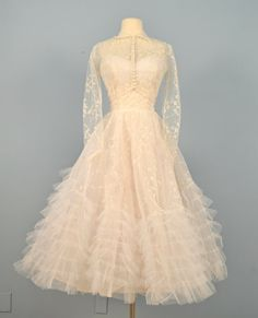 Vintage 1950s Tea Length Winter White Embroidered Tulle Wedding Dress
