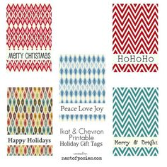 Free gift tage -  Chevron & Ikat on the same gift tag printable! yes please :)